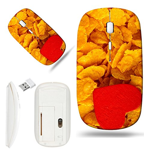 Luxlady Wireless Mouse White Base Travel 2.4G Wireless Mice with USB Receiver, 1000 DPI for notebook, pc, laptop, macdesign IMAGE ID: 25016513 Health and diet concept healthy breakfast Love corn flake