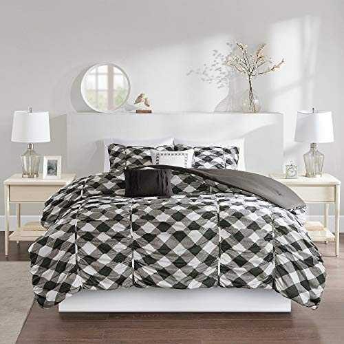 5 Pc Farmhouse Country Style Grey Comforter, All Seasons Geometric Stripe Pattern Gingham Print Bedding Sets Queen, Charming Cottage Look Stylish Eye-Catching Contrast Hypoallergenic Warm Soft Bedding