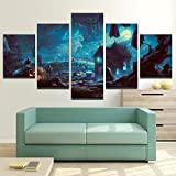 [LARGE] Premium Quality Canvas Printed Wall Art Poster 5 Pieces / 5 Pannel Wall Decor Haunted Cemetery Painting, Home Decor Pictures - With Wooden Frame