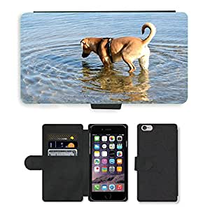 PU LEATHER case coque housse smartphone Flip bag Cover protection // M00133941 Perro de Brown joven perro Quadruped // Apple iPhone 6 4.7""