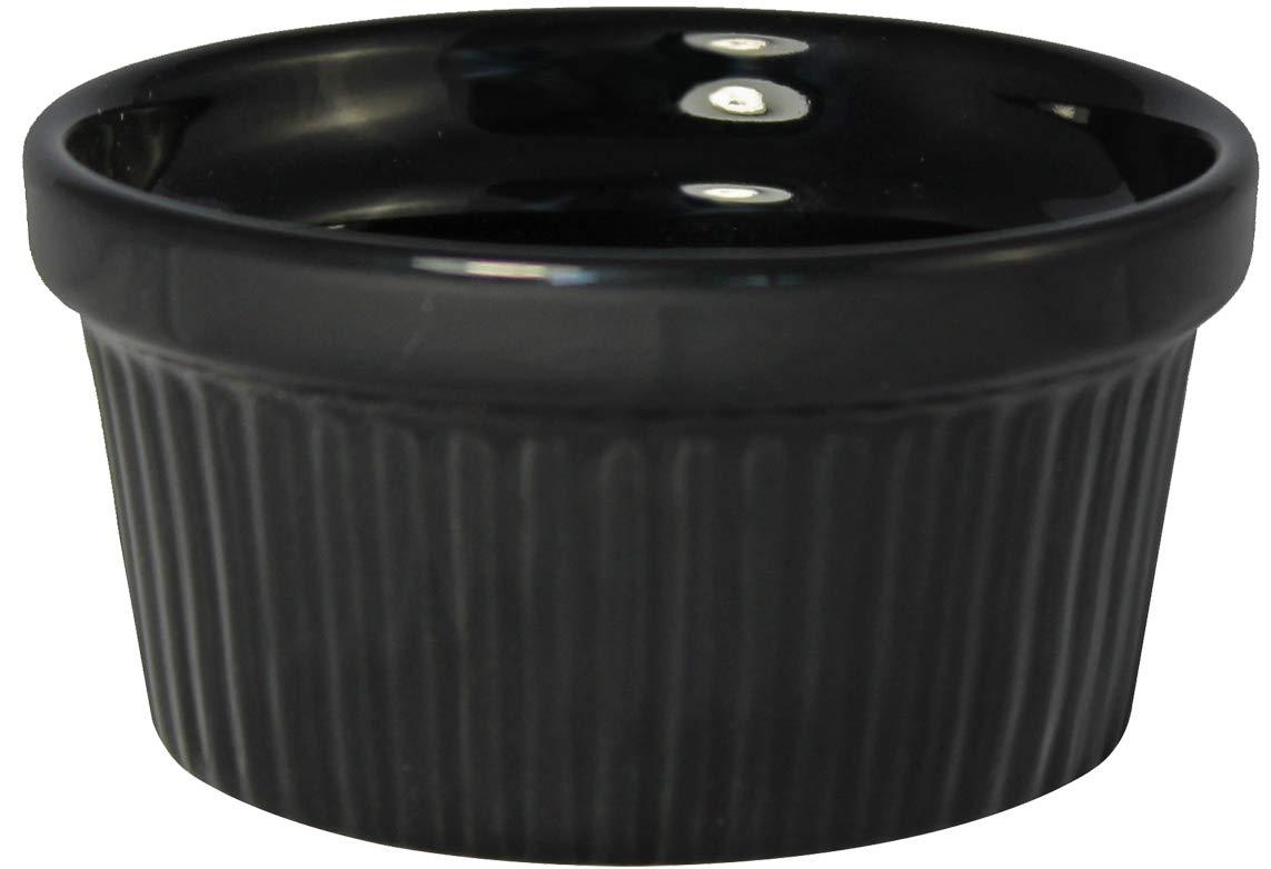 ITI Ceramic Stackable Baking Ramekins/Condiment Sauce Cups with Pan Scraper, Medium/Large, 4-Pack (4 Ounce, Black)