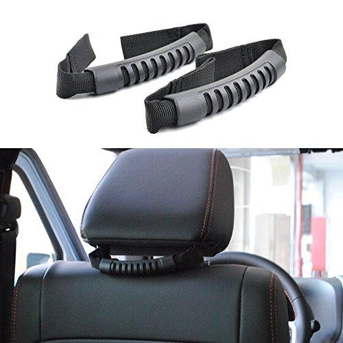 (u-Box Rear Seat Grab Handle Grip Bar in Black for 2007-2019 Jeep Wrangler JK)