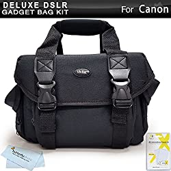 Deluxe Rugged Camera Bag Case For Canon Eos M, Canon Eos Rebel T5i, T4i, T3i, Eos Rebel T2i, Eos Rebel T5, Eos Rebel Xsi, Eos Rebel T3, Eos Rebel Xs, (650d), Eos Rebel Sl1 Digital Slr Camera + More