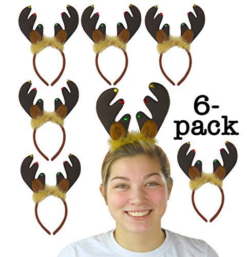 Iconikal Christmas Reindeer Antler Headband with Bells 6-Pack (Antlers Reindeer Felt)
