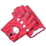 BAOBAO Women PU Leather Hollow Half Finger Fingerless Driving Performance Gloves