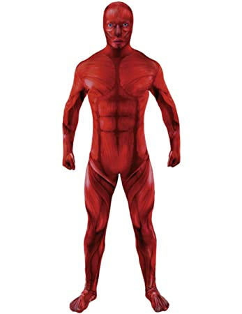 Mens Anatomy Muscle Halloween Fancy Dress Second Skin Body Suit ...