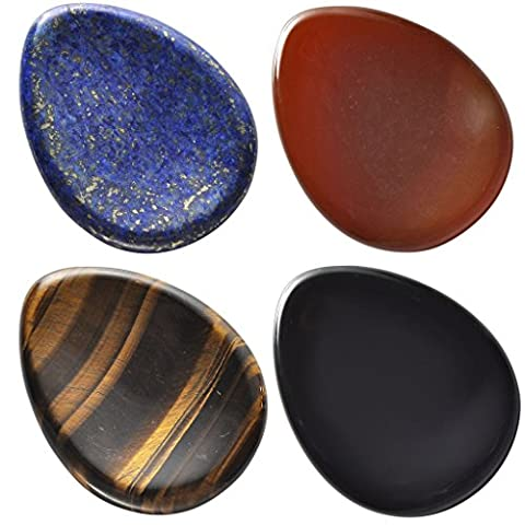 Top Plaza Thumb Worry Stone Water Drop Natural Red Agate Black Obsidian Tiger Eye Dyed Lapis Lazuli Chakra Reiki Healing Crystals - Tumbled Palm Stone
