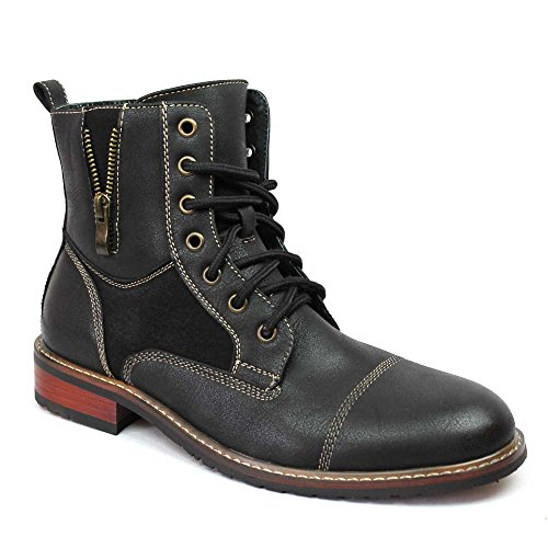 Ferro Aldo Men's Brown Dress Ankle Boots Cap Toe 808561 (8.5 U.S (D) M, Black)