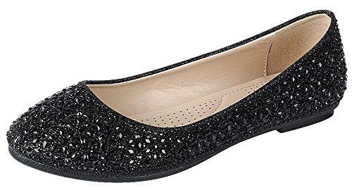 Cambridge Select Dames Gesloten Ronde Neus Kristal Glitter Glitter Slip-on Ballet Plat Zwart