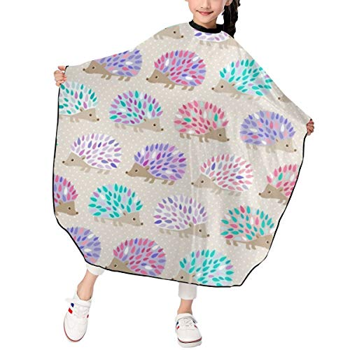 SKTN1 Kids Haircut Barber Cape Cover for Hair Cutting,Styling and Shampoo - Hedgehog Printing