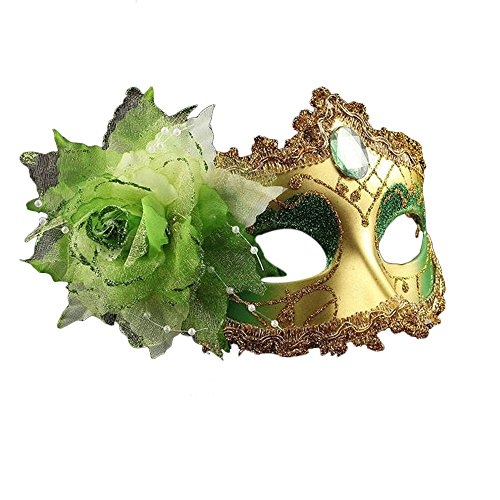 BessWedding Flower Crystal Venetian Lace Face Mask for Halloween Masquerade (Monster Bride (green) Child Costumes)