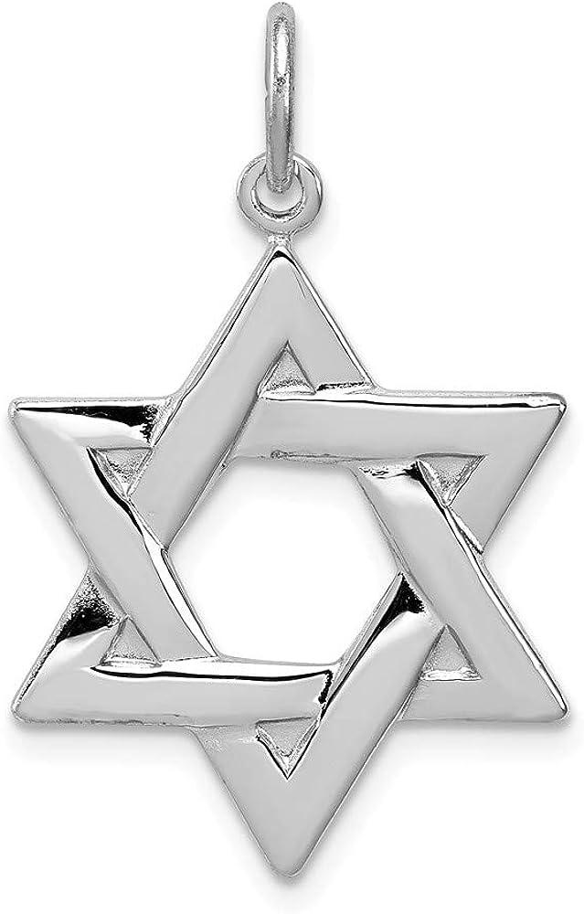 925 Sterling Silver Rhodium-plated Jewish Star of David Charm