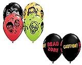 "LoonBalloon 12 ZOMBIES Heads DEAD ZONE Skulls Danger Walker Walking 11"" Party Latex Balloons"