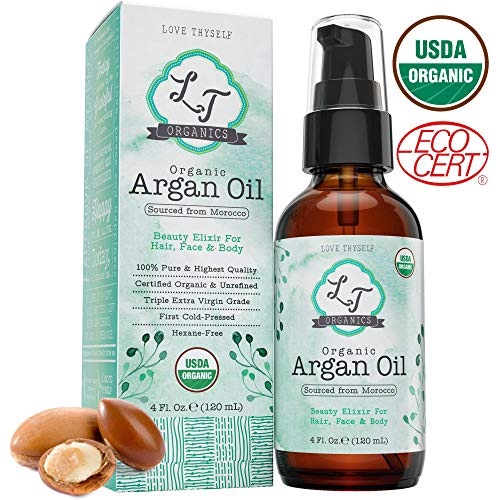 100% Pure Moroccan Argan Oil 4oz. Cold-Pressed & Triple Extra-Virgin Grade A to Promote BEST Growth for Dry & Damaged Hair. Natural Treatment for Anti-Aging Skin, Nails, Foot & Beard Care