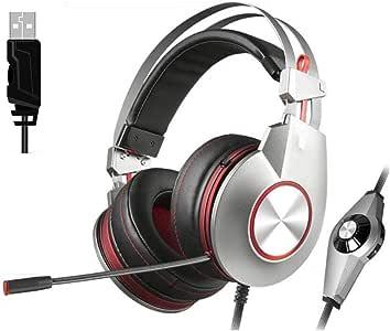 WLKJ Auriculares con micrófono, PC para Juegos con Diadema suspendida, Orejeras de algodón con Memoria, Calidad de Sonido de Alta definición para computadora, computadora portátil,Rojo: Amazon.es: Hogar