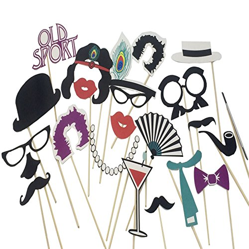 musykrafties Roaring 20's Gatsby Flapper Girl and Gangster Inspired Wedding Party Photo Booth Props 22 Count