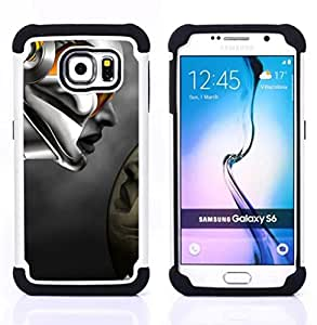 - Robot Abstract Woman/ H??brido 3in1 Deluxe Impreso duro Soft Alto Impacto caja de la armadura Defender - SHIMIN CAO - For Samsung Galaxy S6 G9200