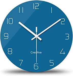 FlorLife Large Wall Decorative Clock Living Room Modern Clock, Quartz Analog Movement Silent Non-Ticking Round Digital Glass Wall Clock Battery Operated 12 Inch - Blue