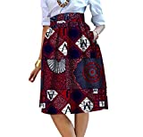 Abetteric Women's Mini Dashiki Highwaist Africa Pocket Fashion A Line Skirts 10 3XL