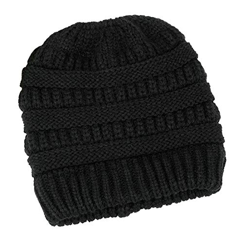 Lamdgbway Trendy Knit Hat Cable Beanie Stretch Chunky Warm Messy Ponytail Bun Hat Black