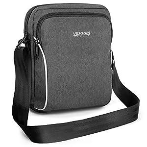 Verran Water- Shock- and Scratch-proof Vintage Small Cross-Body Bag for Men (Black Grey)