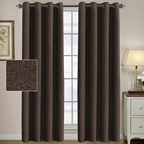 H.VERSAILTEX Linen Curtains 84 Thermal Insulated Energy Efficient Curtains Textured Linen Like Curtain Panels for Bedroom/Living Room Natural Feeling Window Treatment Drapes - Dark Brown (2 Panels) (Chocolate Drapes And Blue)
