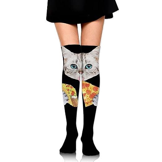 2e844dbef896d Women Thigh High Socks Over Knee Cat Taco Pizza Cartoon Extra Long Tube  Dress Retro Winter