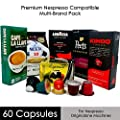Nespresso Compatible Capsules Multi-Brand Variety Pack - 60 Espresso Pods of the World's Best Coffee that Brew like Nespresso Capsules in Your Nespresso Machine