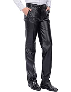 ebd3385a55a4 Agile Mens Slim Fit Stretch Fashion Casual Faux Leather Pants at ...