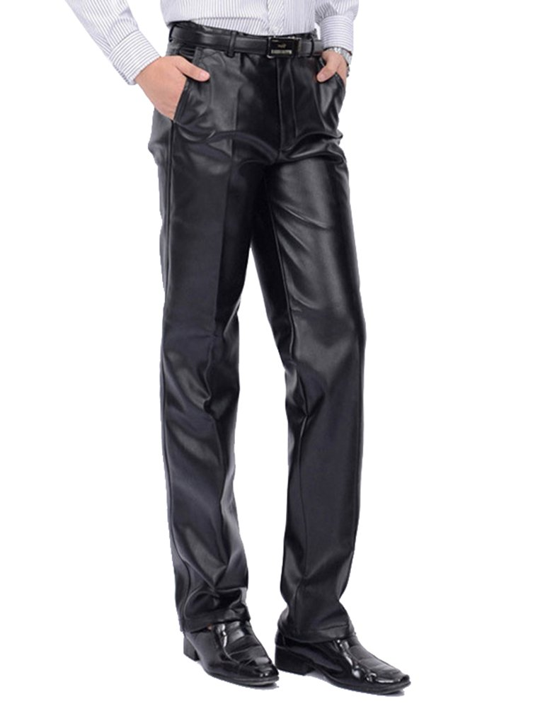 Idopy Men`s Classic Business Casual Regular-Fit Faux Leather Pants