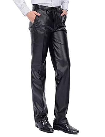 a612d416d3 Idopy Men`s Classic Business Casual Regular-Fit Faux Leather Pants (W30
