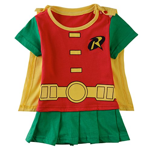 A&J Design Baby Girls' Robin Romper Costume 6-9 Months (Robin Outfit For Babies)