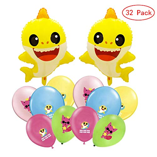 MEISIYU Baby Cute Shark Party Supplies Decorations Balloon, Shark Balloons Party Supplies Shark Family Birthday Party Decorations
