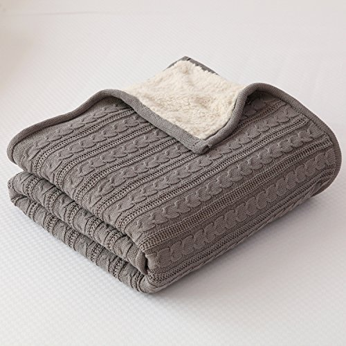 NEW YEAR Gift Idea! SALES! Cotton Knitted Blanket Lined with Sherpa Lining Super Soft Warm Cover for Bed Sofa Counch, 47x70 Inches, Grey (Cotton Sherpa Blanket)