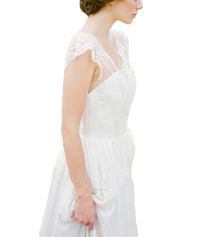 Mr.ace Homme 2017 Bohemia Beach Wedding Dresses Chiffon Cap Sleeve Bridal Gown at Amazon Womens Clothing store: