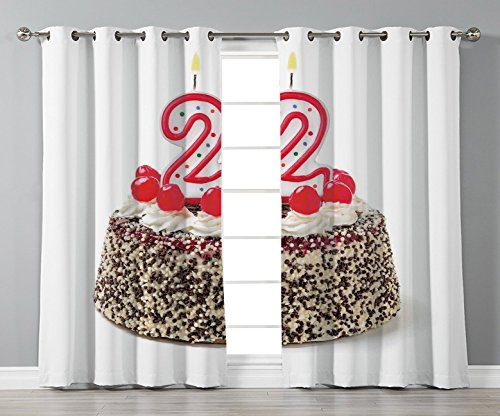 Satin Grommet Window Curtains,22nd Birthday Decorations,Chocolate and Cake