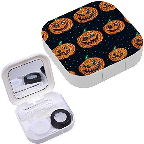 Portable Contact Lens Case Box Travel Kit Mirror + Bottle + Tweezers Container Holder [ Halloween Pixel Art ]]()