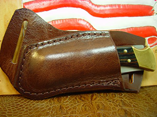 Leather Buck 110 or 112 Knife Sheath (Light Brown) Left-HAND Draw. The Genuine Water Buffalo Leather Is Very Soft and Pliable that will last a very long time. Sheath Only!!