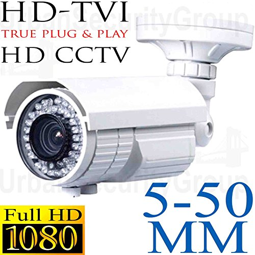 Urban Security Group 5-50mm Telephoto Lens Bullet Camera : 2MP 1080P 30FPS, Vari-Focal, Weather & Vandal-Proof : 72x IR LEDs 200ft Night Vision : Coax BNC HD-TVI, HD-CVI, AHD & Analog CVBS