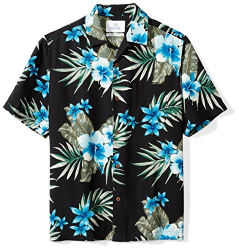 28 Palms Men's Relaxed-Fit 100% Silk Tropical Hawaiian Shirt, Black/Blue Hibiscus Floral, Medium