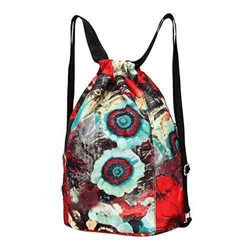 WTUS Mujer cordón exterior impermeable de Oxford de la mochila mochila mochila de bolsillo vino rojo