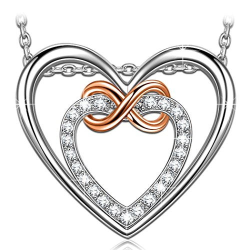 PN PRINCESS NINA Double Heart Infinity Love Necklaces for Women 925 Sterling Silver Cubic Zirconia Pendant Necklace, 17.5 2.0 Extender