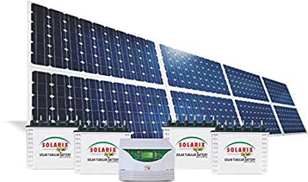 Solarix 24X7 Solar Power Plant With 4 No's 250WP Solar Panels, 1 Nos 1.5KW Inverter/ PCU, 2No's 150Ah Battery, Mounting Structure, Cable & Accessories