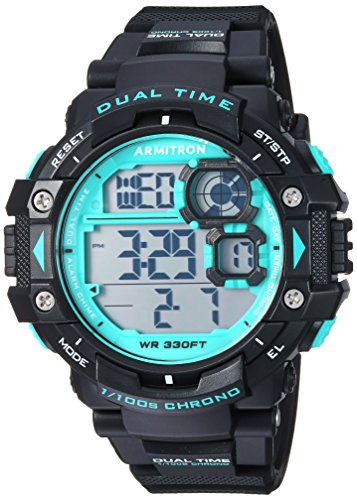 Armitron Sport Men's 40/8309BTL Teal Accented Digital Chronograph Black Resin Strap Watch