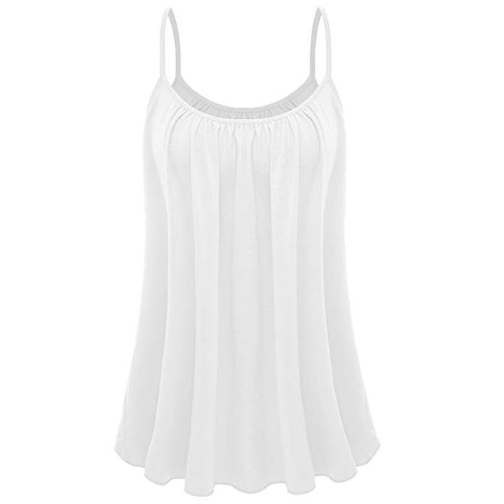 kingfansion Womens Pleated Cami Top Basic Camisole Tank Tops Spaghetti Blouse Shirt kingfansion women top