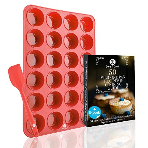 (Baking & Beyond Premium 24 Mini Cup Silicone Muffin Pan and Cupcake Pans w/Spatula- 24 Cups Muffins Tray, Cupcakes Pan | Silicone Muffin Molds, Non Stick Baking Pan | Recipe E-book by B&B | Oven Safe)