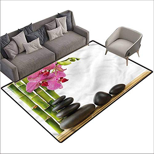 "Large Floor Mats for Living Room Colorful Spa,Pink Orchid and Bamboos 60""x 96"",Kitchen Rugs Non Skid"