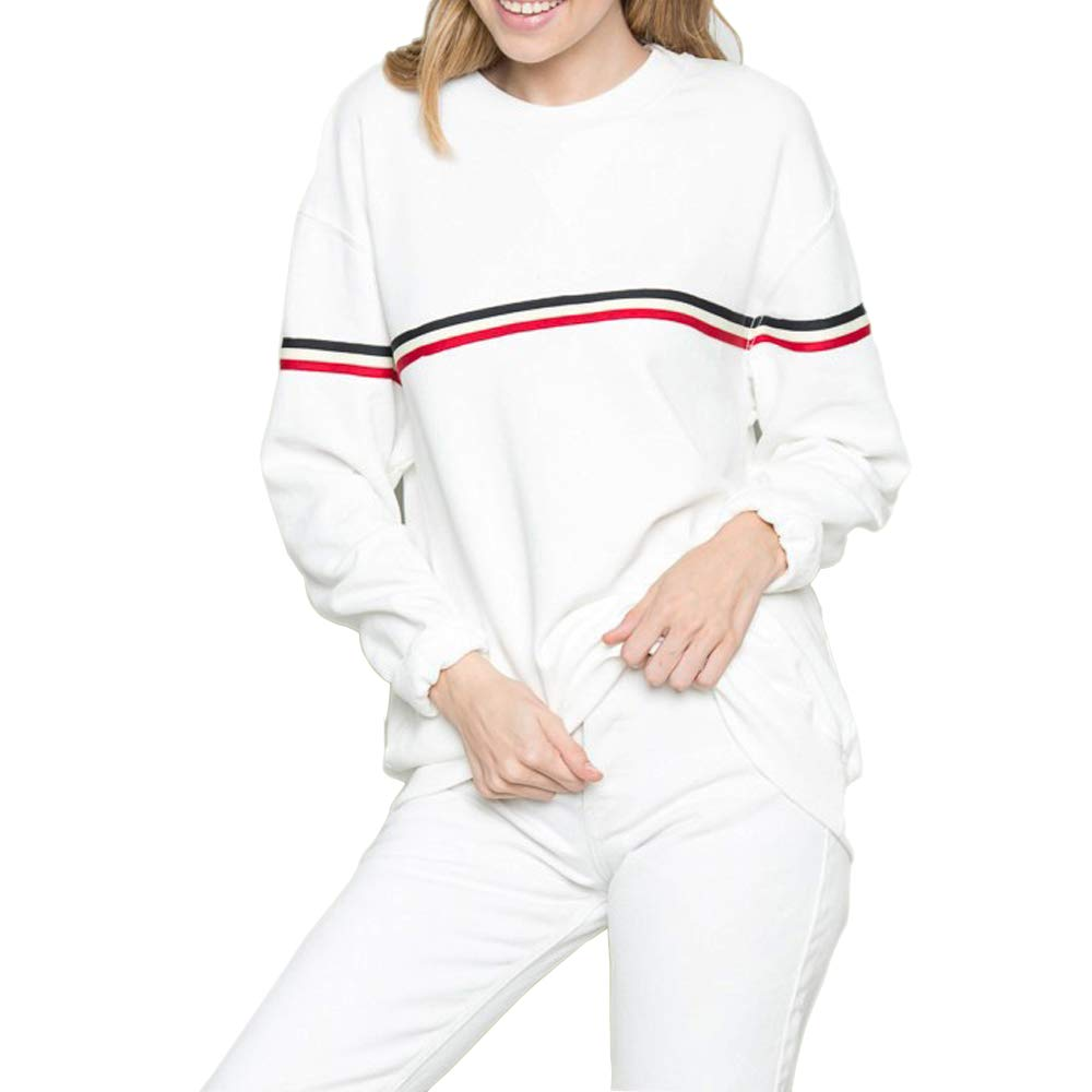 White Red Sweatshirts Women Cute Pastel Aesthetic Tumblr Pullover Sweaters Teen Girls Oversized (White, Small) by Germinate Huang