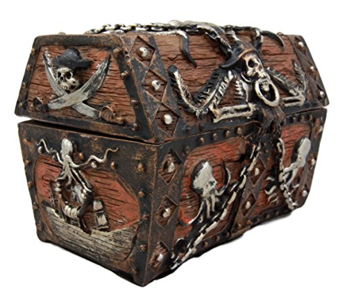 Atlantic Collectibles Caribbean Kraken Octopus Pirate Haunted Chained Skull Treasure Chest Box Jewelry Box Figurine 5''L by Ebros Gift (Image #1)
