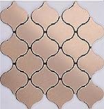 11PCS Rose Gold Peel and Stick Metal Backsplashes, Brushed Aluminum Self-adhesive wallpaper- Q01 (10.76Sq.ft)